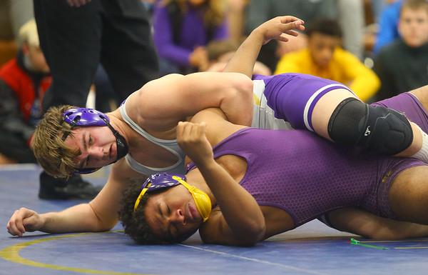 2-1-20<br /> Sectional wrestling<br /> Northwestern's Kyle Cardwell defeats Marion's Kainen Malone-Johnson in the 182.<br /> Kelly Lafferty Gerber | Kokomo Tribune