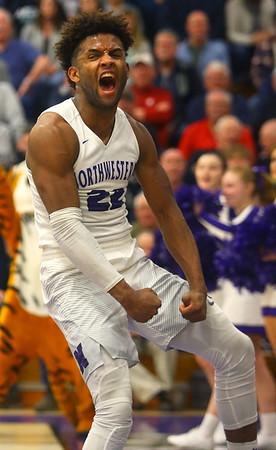 2-11-20<br /> Northwestern vs Blackford boys basketball<br /> NW's Tayson Parker celebrates after a dunk.<br /> Kelly Lafferty Gerber | Kokomo Tribune