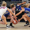 2-26-21<br /> Olivia Spidel grabs a lose ball that went to a jump ball as Tipton Blue Devils lose to Linton-Stockton Miners in the class 2A girls State Finals at Bankers Life.<br /> Tim Bath | Kokomo Tribune