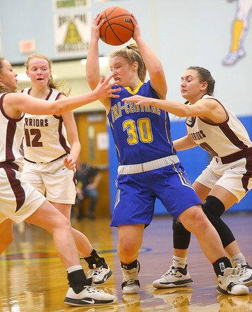 2-4-20<br /> Tri-Central vs Wes-Del girls basketball sectional<br /> TC's Gracie Grimes looks for a pass.<br /> Kelly Lafferty Gerber | Kokomo Tribune