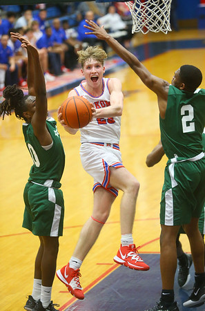 2-6-20<br /> Kokomo vs Arsenal Tech boys basketball<br /> Kokomo's Jackson Richards puts up a shot.<br /> Kelly Lafferty Gerber | Kokomo Tribune