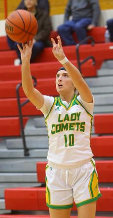 2-5-20<br /> Eastern vs Bellmont girls sectional basketball<br /> Eastern's McKenzie Cooper puts up a three.<br /> Kelly Lafferty Gerber | Kokomo Tribune