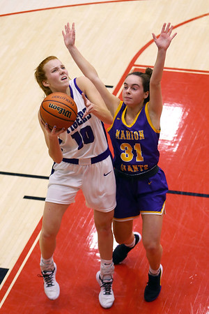 Klair Merrell shoots in the second half of girls sectional basketball at Logansport between Northwestern and Marion HS on February 7, 2020.<br /> Tim Bath | Kokomo Tribune