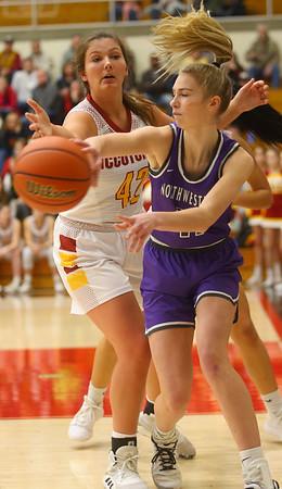 2-8-20<br /> Northwestern vs McCutcheon girls basketball sectional championship <br /> McKenna Layden makes a pass.<br /> Kelly Lafferty Gerber | Kokomo Tribune