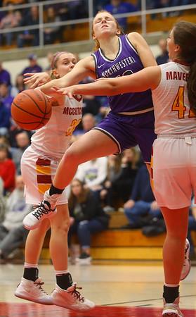 2-8-20<br /> Northwestern vs McCutcheon girls basketball sectional championship <br /> Klair Merrell is fouled at the basket.<br /> Kelly Lafferty Gerber | Kokomo Tribune