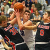 2-11-20<br /> Northwestern vs Blackford boys basketball<br /> NW's Eli Edwards is fouled after grabbing the rebound.<br /> Kelly Lafferty Gerber | Kokomo Tribune