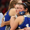2-26-21<br /> Macy Earl and Hallie Wolfe embrace while watching the last minutes of the game as Tipton Blue Devils lose to Linton-Stockton Miners in the class 2A girls State Finals at Bankers Life.<br /> Tim Bath | Kokomo Tribune