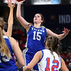 2-26-21<br /> Abigail Parker up for a shot as Tipton Blue Devils lose to Linton-Stockton Miners in the class 2A girls State Finals at Bankers Life.<br /> Tim Bath | Kokomo Tribune