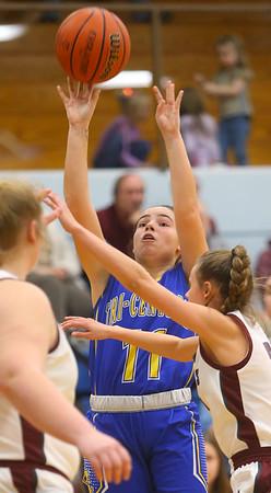 2-4-20<br /> Tri-Central vs Wes-Del girls basketball sectional<br /> TC's Brittany Temple shoots.<br /> Kelly Lafferty Gerber | Kokomo Tribune