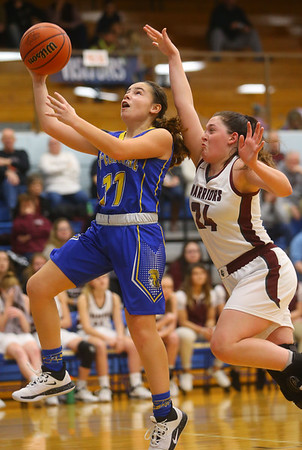 2-4-20<br /> Tri-Central vs Wes-Del girls basketball sectional<br /> TC's Brittany Temple puts up a shot.<br /> Kelly Lafferty Gerber | Kokomo Tribune
