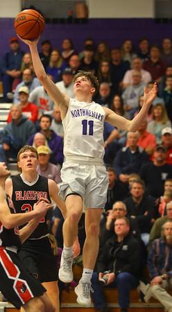 2-11-20<br /> Northwestern vs Blackford boys basketball<br /> NW's Ben Beachy puts up a shot.<br /> Kelly Lafferty Gerber | Kokomo Tribune
