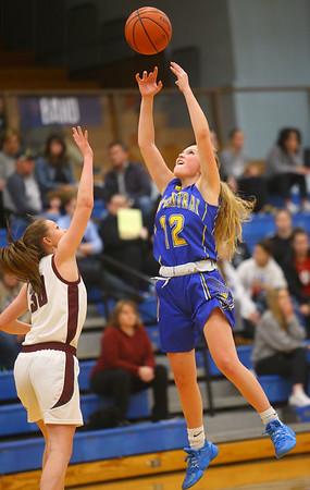 2-4-20<br /> Tri-Central vs Wes-Del girls basketball sectional<br /> TC's Kenadie Fernung attempts a steal.<br /> Kelly Lafferty Gerber | Kokomo Tribune