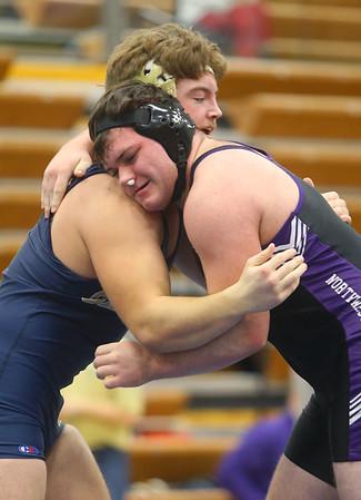 2-1-20<br /> Sectional wrestling<br /> Northwestern's Julion Creason is defeated by Oak Hill's Fred Durben in the 220.<br /> Kelly Lafferty Gerber | Kokomo Tribune