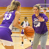Head coach Kathie Layden plays defense on her daughter Madison Layden during a drill at practice on Oct. 29.<br /> Kelly Lafferty Gerber | Kokomo Tribune