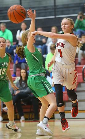 1-17-20<br /> Taylor vs CC girls basketball<br /> Taylor's Emma Good tosses a pass.<br /> Kelly Lafferty Gerber   Kokomo Tribune