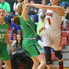 1-17-20<br /> Taylor vs CC girls basketball<br /> Taylor's Emma Good tosses a pass.<br /> Kelly Lafferty Gerber | Kokomo Tribune