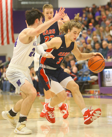 1-24-20<br /> Northwestern vs Cass boys basketball<br /> Cass' Easton Good heads down the court.<br /> Kelly Lafferty Gerber | Kokomo Tribune