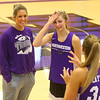 Head coach Kathie Layden, left, talks with daughters McKenna, center, and Madison during practice on Oct. 29.<br /> Kelly Lafferty Gerber | Kokomo Tribune