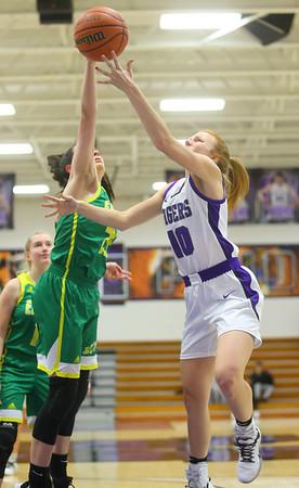 1-8-20<br /> Northwestern vs Eastern girls basketball<br /> NW's Klair Merrell puts up a shot.<br /> Kelly Lafferty Gerber   Kokomo Tribune