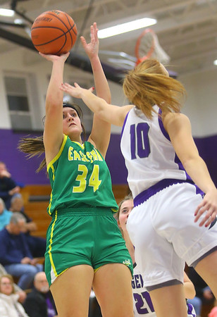 1-8-20<br /> Northwestern vs Eastern girls basketball<br /> Eastern's Jeanie Crabtree shoots.<br /> Kelly Lafferty Gerber | Kokomo Tribune