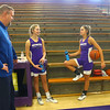 Jeff Layden, left, talks with his daughters McKenna and Madison, center, and the girls' grandfather, Dave Wise, after practice on Dec. 17.<br /> Kelly Lafferty Gerber | Kokomo Tribune