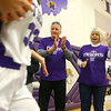Dave and Joyce Wise, grandparents of Madison and McKenna Layden, cheer for the Tigers as they enter the gym during Grandparents Day on Dec. 10.<br /> Kelly Lafferty Gerber | Kokomo Tribune