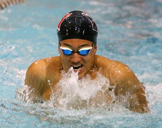 1-28-20<br /> Northwestern vs Western swimming<br /> Western's Palmer Harrell in the boys 200 yard medley relay.<br /> Kelly Lafferty Gerber | Kokomo Tribune