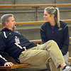 Northwestern girl's basketball head coach Kathie Layden, right, chats with her husband and assistant coach Jeff Layden during practice on Dec. 6.<br /> Kelly Lafferty Gerber | Kokomo Tribune