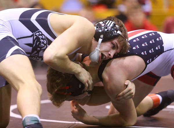 1-18-20<br /> Hoosier Conference wrestling tournament<br /> Western's Chandler Ciscell defeats RC's Lakin Webb in the 126.<br /> Kelly Lafferty Gerber | Kokomo Tribun