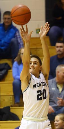 1-3-20<br /> Western vs Oak Hill boys basketball<br /> Western's Kyle Sanders puts up a three.<br /> Kelly Lafferty Gerber | Kokomo Tribune