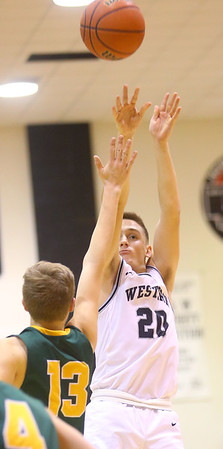 1-25-20<br /> Western vs Eastern boys basketball<br /> Western's Kyle Sanders shoots.<br /> Kelly Lafferty Gerber | Kokomo Tribune