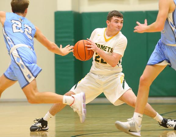 1-7-20<br /> Eastern vs Maconaquah boys basketball<br /> Eastern's Ethan Wilcox looks for a pass.<br /> Kelly Lafferty Gerber | Kokomo Tribune