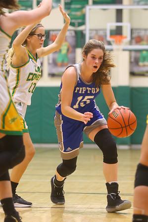 1-14-20<br /> Eastern vs Tipton girls basketball<br /> Tipton's Abigail Parker heads down the court.<br /> Kelly Lafferty Gerber | Kokomo Tribune
