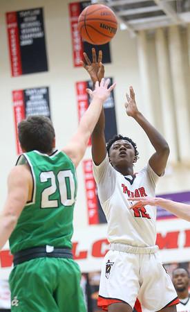 1-17-20<br /> Taylor vs CC boys basketball<br /> Taylor's Tyler Hall shoots.<br /> Kelly Lafferty Gerber | Kokomo Tribune
