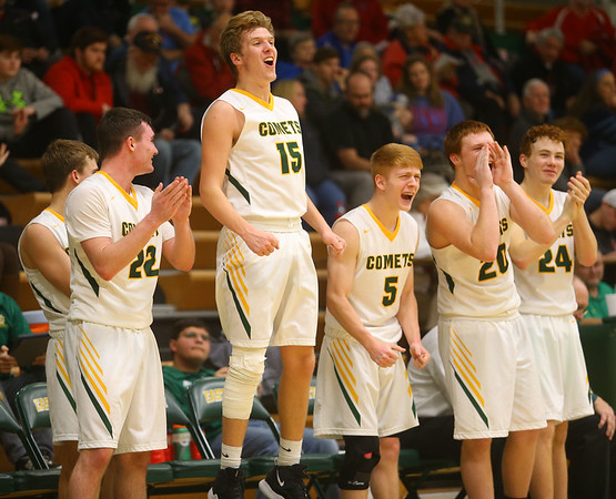 1-7-20<br /> Eastern vs Maconaquah boys basketball<br /> Eastern's starters cheer for the non-starters in the last 30 seconds of the game.<br /> Kelly Lafferty Gerber   Kokomo Tribune