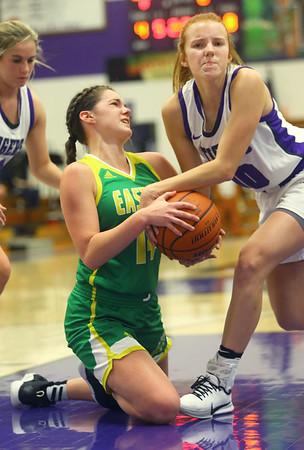 1-8-20<br /> Northwestern vs Eastern girls basketball<br /> Eastern's Rylie Davison and NW's Klair Merrell go after the ball.<br /> Kelly Lafferty Gerber | Kokomo Tribune