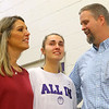 Senior Madison Layden gets emotional as she prepares to walk into the Northwestern gym during senior day on Jan. 11 with her parents and coaches Kathie and Jeff Layden by her side.<br /> Kelly Lafferty Gerber | Kokomo Tribune