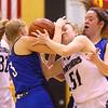 1-16-20<br /> Western vs Carroll girls basketball<br /> Western's Morgan Ousley is fouled by Carroll's Josie Unger.<br /> Kelly Lafferty Gerber | Kokomo Tribune