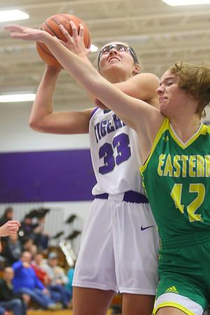 1-8-20<br /> Northwestern vs Eastern girls basketball<br /> NW's Madison Layden puts up the shot for her 2,000th point.<br /> Kelly Lafferty Gerber | Kokomo Tribune