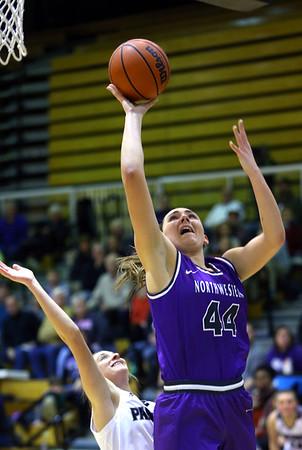 Kendall Bostic shoots from under the basket as Western High School hosts Northwestern girls basketball on January 21, 2020.<br /> Tim Bath | Kokomo Tribune