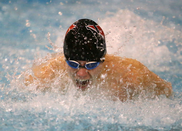 1-28-20<br /> Northwestern vs Western swimming<br /> Western's Pete Bradshaw in the boys 200 yard medley relay.<br /> Kelly Lafferty Gerber | Kokomo Tribune