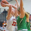 1-17-20<br /> Taylor vs CC girls basketball<br /> Taylor's Ashlen Kropczynski launches a pass.<br /> Kelly Lafferty Gerber | Kokomo Tribune