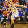 1-22-20<br /> Tri Central vs Elwood girls basketball<br /> Tri Central's Lily Stogdill heads down the court.<br /> Kelly Lafferty Gerber | Kokomo Tribune