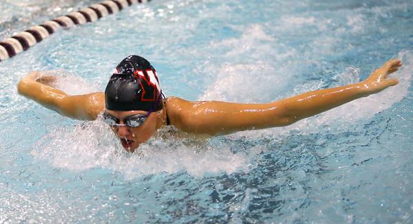 1-28-20<br /> Northwestern vs Western swimming<br /> NW's Delaney Lupoi in the girls 200 yard medley relay.<br /> Kelly Lafferty Gerber | Kokomo Tribune