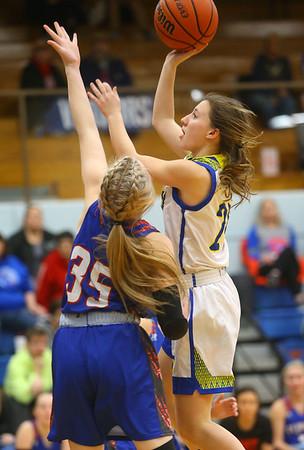 1-22-20<br /> Tri Central vs Elwood girls basketball<br /> Tri Central's Lily Stogdill puts up a shot.<br /> Kelly Lafferty Gerber | Kokomo Tribune