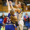 1-22-20<br /> Tri Central vs Elwood girls basketball<br /> Tri Central's Lily Stogdill puts up a shot.<br /> Kelly Lafferty Gerber | Kokomo Tribune
