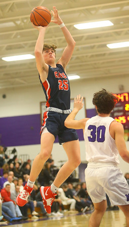 1-24-20<br /> Northwestern vs Cass boys basketball<br /> Cass' Tyson Good shoots.<br /> Kelly Lafferty Gerber | Kokomo Tribune