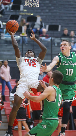 1-17-20<br /> Taylor vs CC boys basketball<br /> Taylor's Tyler Hall puts up a shot.<br /> Kelly Lafferty Gerber | Kokomo Tribune
