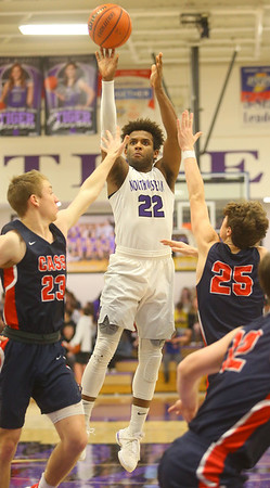 1-24-20<br /> Northwestern vs Cass boys basketball<br /> NW's Tayson Parker shoots.<br /> Kelly Lafferty Gerber | Kokomo Tribune