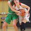 1-17-20<br /> Taylor vs CC girls basketball<br /> Taylor's Austyn Huffer tries to maintain control of the ball.<br /> Kelly Lafferty Gerber | Kokomo Tribune
